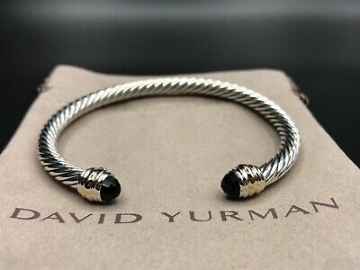 1b20eeae755983 DAVID YURMAN 5mm Sterling Silver & 14K Gold Cable Classic Bracelet W Black  Onyx • 295.00