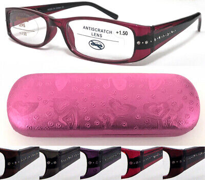 £6.99 • Buy L382H Ladies Diamante Reading Glasses/Spring Hinges + Fancy Rose Butterfly Case*