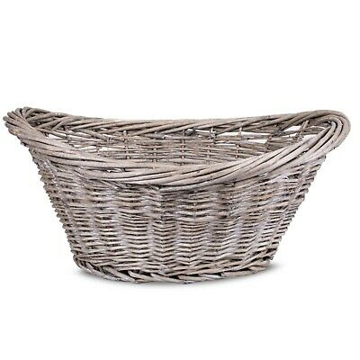Wicker Oval Log BASKET STORAGE HANDLES WILLOW BASKET LAUNDRY • 14.99£