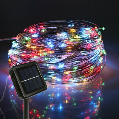 LED Solar String Lights Waterproof 10M 20M Copper Wire Fairy Outdoor Garden RGB • 8.24£