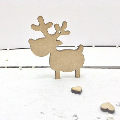 £3.95 • Buy MDF Reindeer Shapes Wooden Craft Blank Christmas Tag Xmas - 4mm Hanging Options