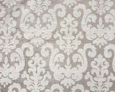 Damask Jacquard Beige Grey Design Pattern Chenille Curtain Fabric Material Woven • 1.20£