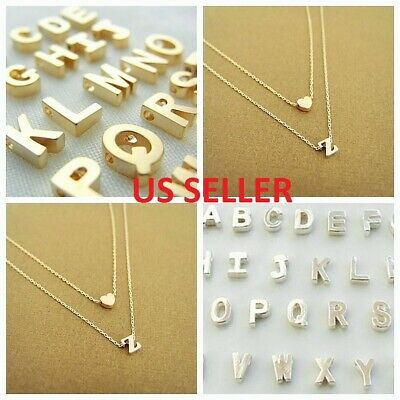 $6.49 • Buy Women Gold/Silver Plated Alphabet Letter W/Heart A-Z Pendant Chain Necklace