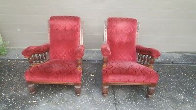 AU200 • Buy Antique Edwardian Grandfather's Chairs ( A Pair)