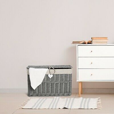 Grey Wicker Basket,Storage Chest Trunk Hamper With Cloth Linning • 19.99£