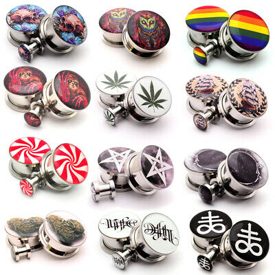 $10.49 • Buy Pair Of Screw On Picture Plugs Gauges Choose Size And Style 16g Thru 1 Inch