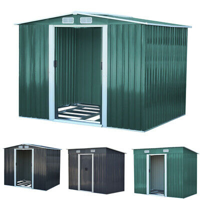8x8ft, 10x8ft Strong Metal Garden Outdoor Storage Shed Double Door And Air Vents • 169.95£