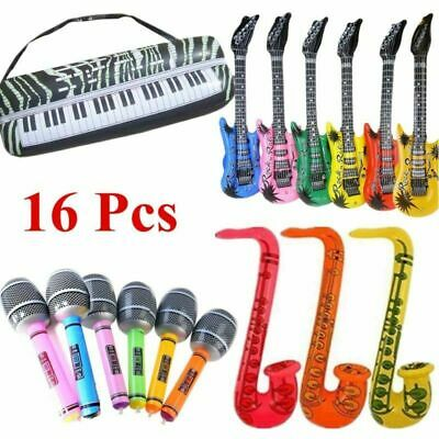 16*Inflatable Music Instruments Guitar/Microphone/SAXOPHONE COLOURFUL BLOW UP UK • 11.99£