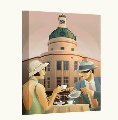 £18.50 • Buy Art Deco Couple Drinking Coffee Outside Cafe Canvas Wall Art Print Picture