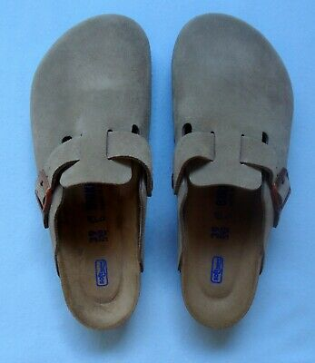 b99b53b4265b Birkenstock Boston Taupe Suede Slip On Buckled Clogs Size 39 Unisex • 65.00