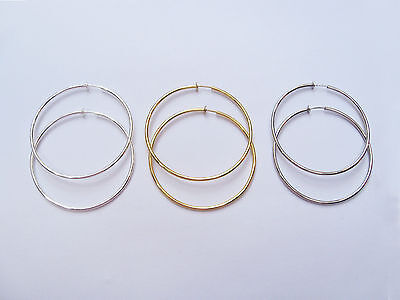 £3.99 • Buy 3 Pairs Spring Clip On Hoops Earrings In Silver Gold And Platinum 3 Colour Set