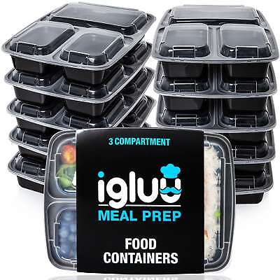Igluu Meal Prep Food Containers 3 Compartment [10 Pc] BPA Free Bento Lunch Box • 14.95£
