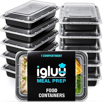 Igluu Meal Prep Food Containers 1 Compartment 10 Pc BPA Free Reusable Lunch Box • 14.95£