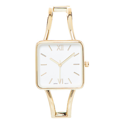 £13.48 • Buy Gold Square Face White Dial Metal Double Band Fashion Womens Bangle Cuff Watch