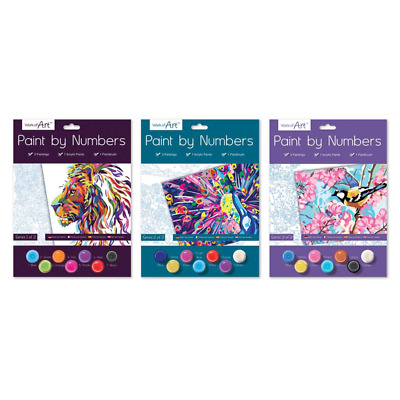 A4 Paint By Numbers Kids Children Art Colouring Painting Set 3 Designs New  • 3.75£