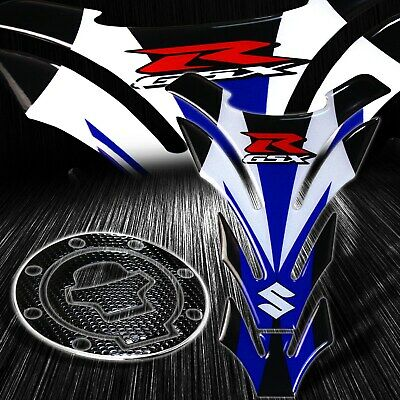 $29.98 • Buy Reflective Logo White/Blue Gas Tank Pad+Chrome Fuel Cap Cover Sticker 96-03 GSXR