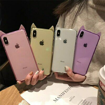 £5.76 • Buy Bling Diamond Cat Ear Shockproof Protector Case Cover For IPhone X XS MAX XR