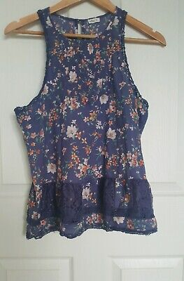 AU15 • Buy HOLLISTER Blue Sleeveless Floaty Pink Green Floral Top Pleats Button Size M