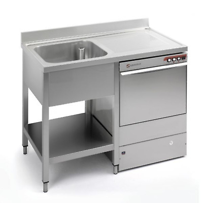 Commercial Stainless Steel Right Hand Drainer Single Bowl Dishwasher Sink 1200mm • 385£