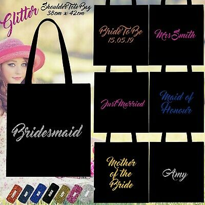 £5.39 • Buy Custom Personalised Glitter Shoulder Tote Bags 100% Cotton Wedding Gift Hen Do