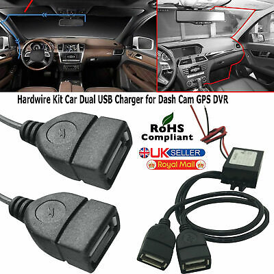 £3.99 • Buy 12V To 5V 3A 15W DC Car Hard Wired Dual USB Charger For Dash Cam IPhone GPS DVR