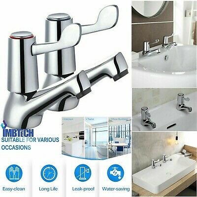 £10.99 • Buy Chrome Lever Basin Sink Pillar Taps Easy Use 1/4 Turn Pair 1/2  Hot Cold Set