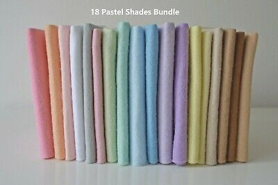 Pastel Shades Selection | Wool Mix Felt Pack | 18 Sheets | Size Options       • 4.05£