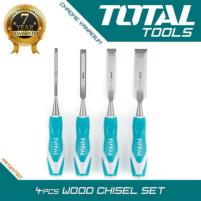 £13.99 • Buy Total Tools WOOD CHISEL SET 4pcs Woodworking Carpentry Hand Carving Bevel Edge