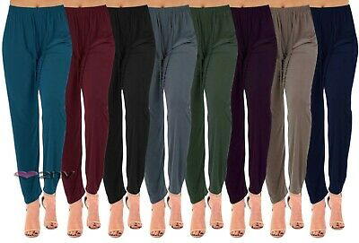 £8.95 • Buy Womens Straight Leg Summer Trousers Tapered Stretch Casual Elasticated Palazzos.