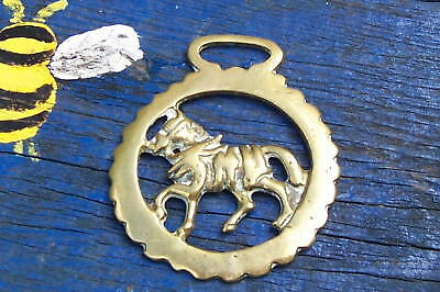 Antique Shire Horse Brass Horse In Harness Motif See D • 12£