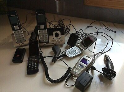 $ CDN15.89 • Buy Lot Of 4 UNTESTED Cell Phones & Vtech Cordless Phones/Answering Machine Chargers