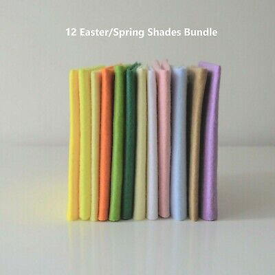 Easter Spring Shades Selection | Wool Mix Felt | 12 Sheets | Size Options       • 6.50£