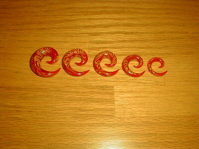 $1.99 • Buy 1 Pair 00g Red And Yellow Swirl Glass Spiral Tapers