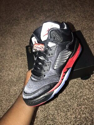 buy popular da9c8 6aa2d 2018 Nike Air Jordan 5 Retro GS SZ 5Y Satin Bred Black Fire Red OG 440888