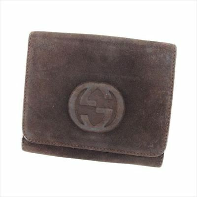 Gucci Wallet Purse G Logos Brown Suede Enamel Leather Woman Authentic Used D1949 • 130.96£