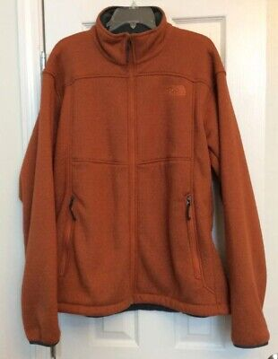 Mens The North Face Fleece Lined Sweater Jacket Polartec Thermal Pro Orange XL • 45$