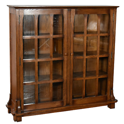 $1129 • Buy Arts And Crafts Mission Solid Oak Double Door Bookcase - Dark Walnut