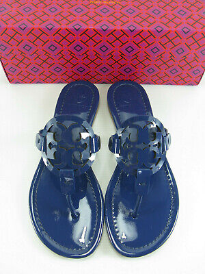 1784de907128 NWB Tory Burch Miller Patent Leather Thong Sandal In Bright Indigo Size7-9  AUTH •