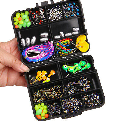 AU22.94 • Buy 174PCS Fishing Gear Kit Saltwater Lures Sinker Weight Swivels Snaps Hooks Beads