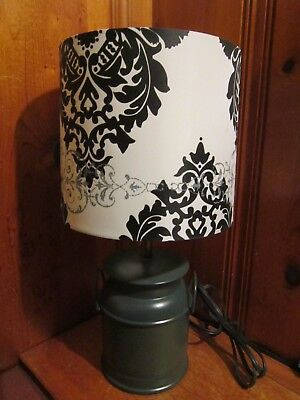 $9.99 • Buy Vintage 2005 Green Metal Table Lamp 17 H Country Milk Can Shape Velvet Shade EUC