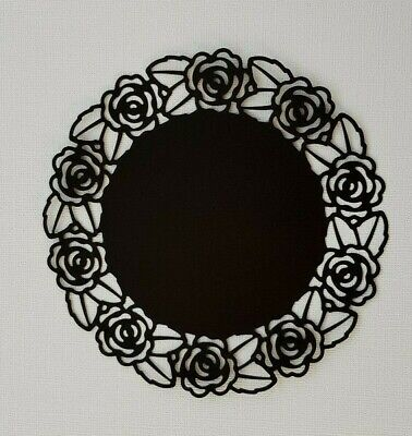 Die Cut Round Rose Doily Frame Card Toppers Card Making Scrapbooking Black  • 2.70£