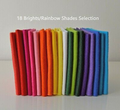 18 Brights Rainbow Bundle | Wool Mix Felt Pack | 18 Sheets | Size Options       • 6.50£