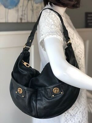 db2fa59d30bd MARC BY MARC JACOBS Totally Turnlock Large MEVIE Black Leather Hobo  Shoulder Bag • 99.95