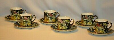 $ CDN25.26 • Buy Royal Winton PEKIN BLACK & GOLD TRIM Grimwades Chintz FLAT DEMI CUPS & SAUCERS