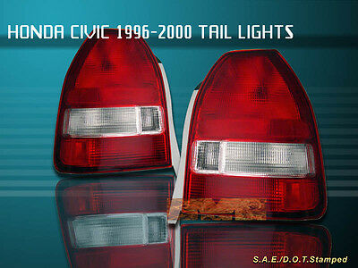 $87.99 • Buy Fit For 96-00 HONDA CIVIC TAIL LIGHTS RED CLEAR 3DOOR HATCHBACK