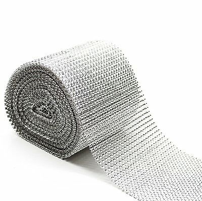 3 Metre Length - Silver Diamond Diamante Effect Ribbon Trim Cake Bridal Craft • 2.89£