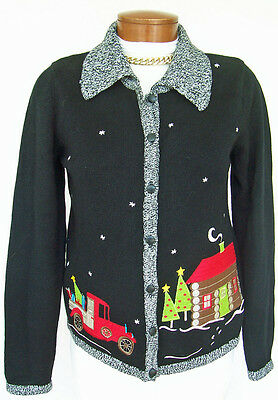 $8.39 • Buy CHRISTOPHER & BANKS Sz S Sweater Collared Christmas Cardigan BLACK Not Ugly CUTE