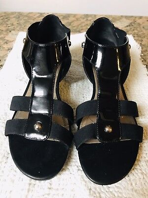 33b6bcd29ff6 Women s IMPO STRETCH RENEW Black Wedges Sandals 9M Patent Leather • 13.99