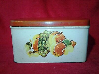 Vintage 1930s 1940s Tin Bread Box Red & White With Fruit Decor • 19.80$