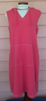 $ CDN12.67 • Buy LANDS END Hoodie Dress Cover-Up Sz M 10 12 PINK Small Flaw Beach Vacation CUTE